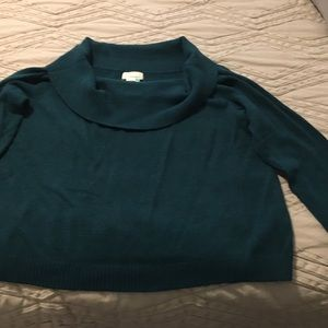 Anthropologie off-shoulder sweater, turquoise, 3X